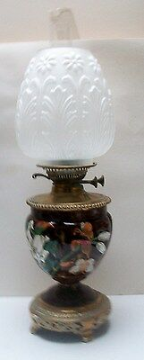 19 Th Century  Oil Lamp Complete   Base Decorated With Lily`s And Butterfly`s