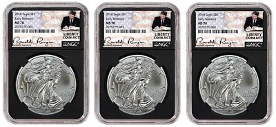 2018 1oz Silver Eagle NGC MS70 ER Liberty Coin Act Black Core 3 Pack