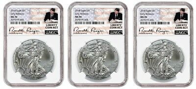 2018 1oz Silver Eagle NGC MS70 ER - Liberty Coin Act - White Core - 3 Pack