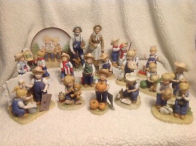 Homco Demin Days Figurines Lot With Plate 16 Piece Lot. Debbie and Danny