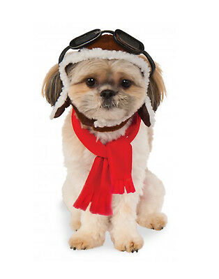 Pet Aviator Hat & Scarf, Trapper Hat W/ Attached Goggles , Pilot Accessories