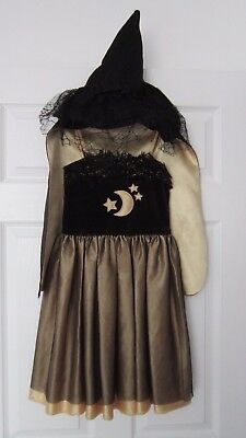 Quality Girls Witch Wizard Costume Cape & Hat Fancy Dress Outfit, 4-6 years.