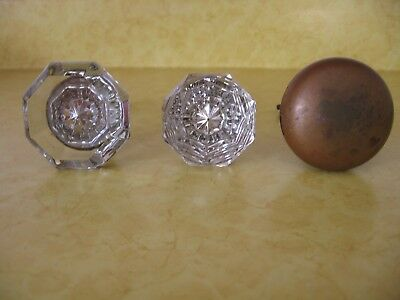 Lot of 3 Vintage Antique Door Knobs - 2 Glass & 1 Brass (A87)
