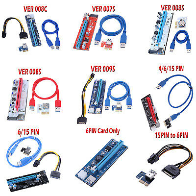 PCI-E Riser Card 1x to 16x USB 3.0 VER 008C 008S 009S Mining Extender Board Lot
