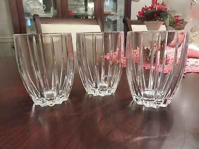 """2 Marquis by Waterford OMEGA Crystal Double Old Fashioned 4 3/8"""" Glass Tumblers"""