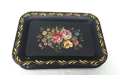 Vtg Set of 10 Mini Tole Ware Black Floral Painted Trays