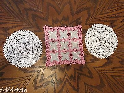 "Lot Of 3 Vintage Doilies - Delicate Handmade Crochet 6.5"" Round & 7"" Pink Square"