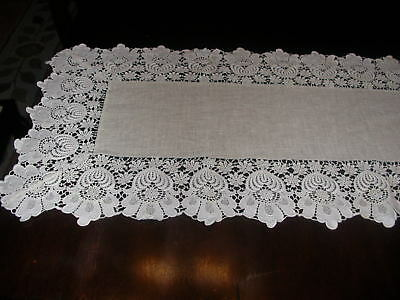 Vintage Ivory Linen Bureau Scarf Table Runner with Lace