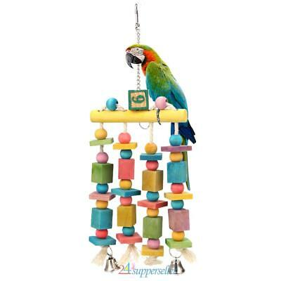 Colorful Parrot Bird Pet Macaw Hanging Chew Bells Wood Blocks Swing Playing Toy