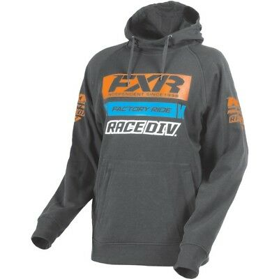 FXR Race Division Mens Pullover Hoody Charcoal Heather Gray/Orange