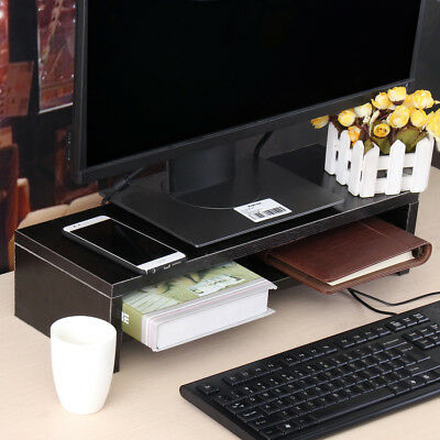 LED LCD Monitor Computer Screen Stand 2 Layer Holder Office Organizer Storage