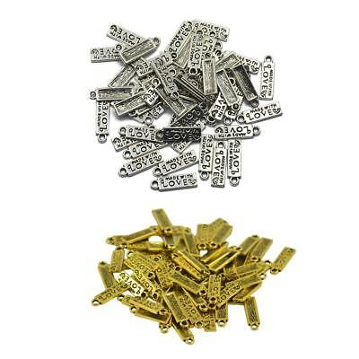 100Pcs Made With Love Charm Heart Beads Pendants Jewelry Making Craft DIY