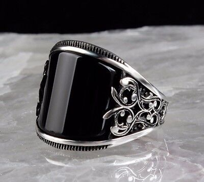 925 Sterling Silver Turkish Handmade SPECIAL Onyx Mens Ring Sz 9 us fr. resize