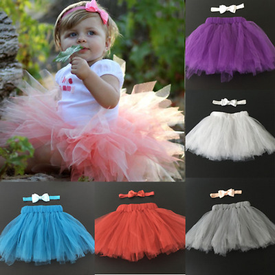 Cute Newborn Toddler Baby Girl Tutu Skirt Headband Photo Prop Costume Outfit UK