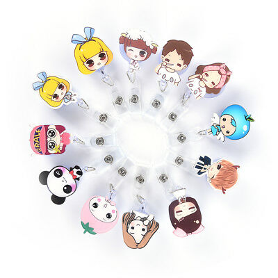Retractable Badge Reel Nurse Exihibiton ID Name Card Badge Holder Office Supp FT