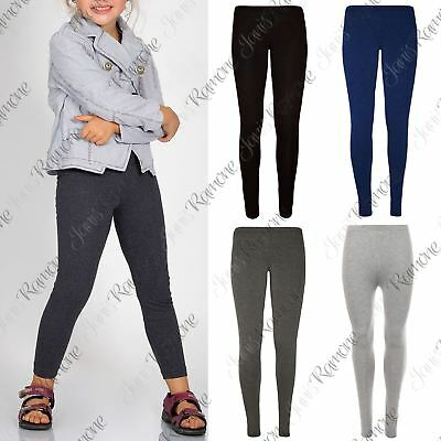 New Kids Girls Plain Viscose Full Length Stretchy Slim Fit Dance Leggings Pants