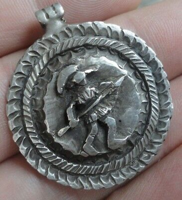 Ancient Roman Legionary Silver Pendant Medallion MARS imperial army artifact