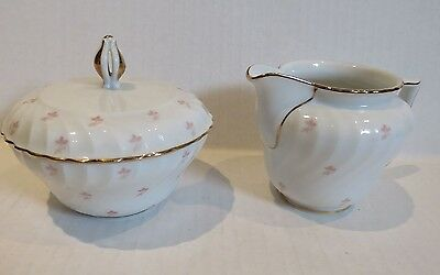 ROYAL BAYREUTH  White tiny pink flowers ROB104 Covered Sugar/ Open Creamer set