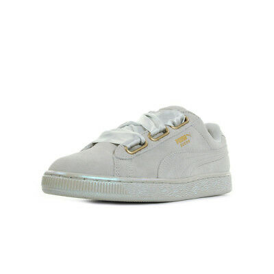 CHAUSSURES BASKETS PUMA femme Suede Heart Snake Jr taille Gris Grise Cuir Lacets