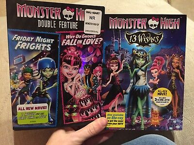 MONSTER HIGH: 13 WISHES NEW DVD double feature Friday frights fall in love used