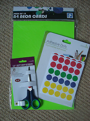 garage/boot sale bits 12 A4 neon cards for price tags, adhesive dots & scissors