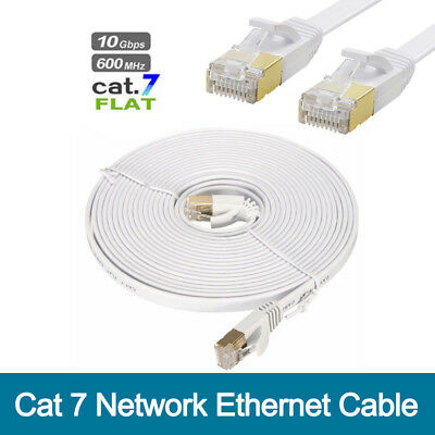10m Cat 7 Network Ethernet Cable High Speed 10Gbps Flat Cat7 RJ-45 Patch Lead