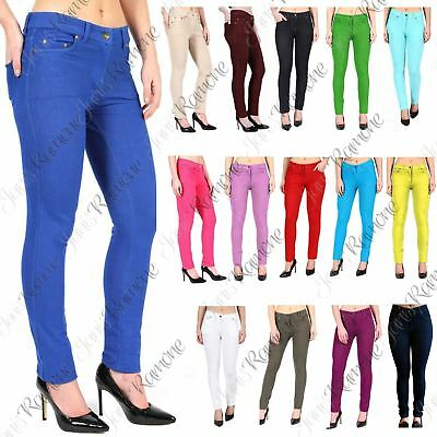 New Womens Plain Stretchy Skinny Fit Zip Up Full Length Jeggings Trousers Pants