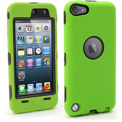 Black Hard Back Cover & Green Silicone Gel Case for Apple iPod Touch 5th/6th Gen