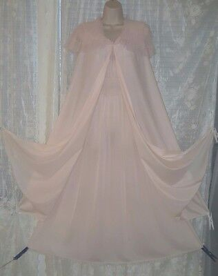 Vintage Pink Vanity Fair Peignoir Nightgown Gown Negligee Pleated Chiffon 11 S
