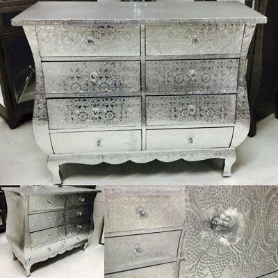 Silver Metal Embossed 8 Drawer Chest Of Drawers