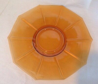"Vintage CAMBRIDGE Honey Gold Amber Glass DECAGON Pattern 10 5/8""W Cake Plate"