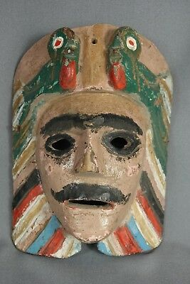 Vintage Hand Carved Tecun Uman Ceremonial Dance Mask from Guatemala