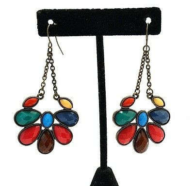 Vintage Large Brass Tone and Jewel Tone Rhinestone Pierced Earrings