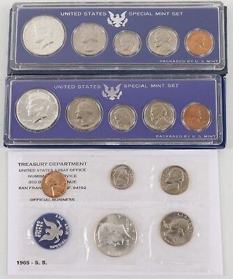 1965-1966-1967 SMS U.S. Special Mint Sets w/ Envelope & Sleeves