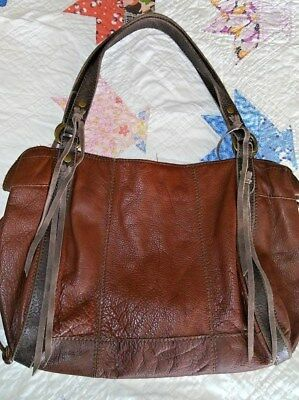 Vintage Lucky Brand Brown Leather Hobo Bag Fringe Excellent Condition