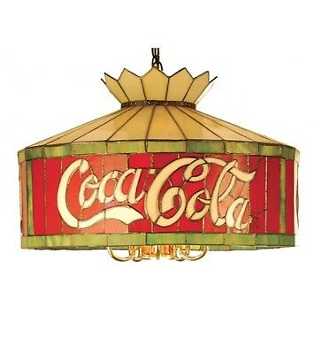 """Coca Cola 24"""" Stain Glass Light Coke Stained Glass Hanging Ceiling Lamp Lighting"""