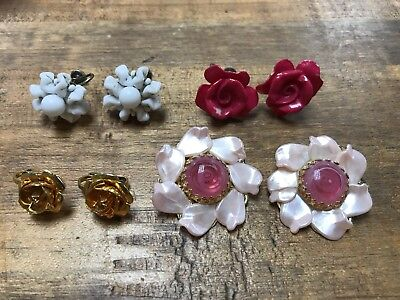Mixed Lot of 4Vintage  Earrings Clip & Screw On floral design