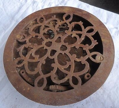 "VTG. Round Heating Grate Victorian Salvage Architectural Cast Iron 9-1/2"" Works"