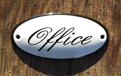 CLASSIC ENAMEL OFFICE SIGN. BLACK TEXT ON A WHITE BACKGROUND. 10x5cm.