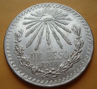 Mexico $1 Peso 1918 AU  silver  Ultra Scarce High Grade please see the coin