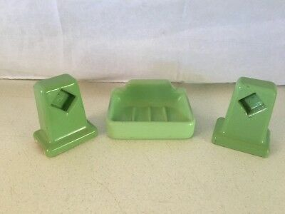 Vintage Jadeite Green Porcelain Bathroom Soap Dish Towel Toilet Paper Holders