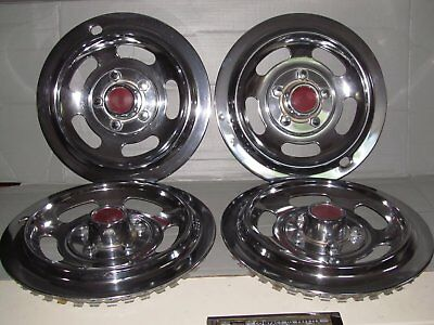 """set of four Vintage 15"""" Steel/Chrome plated wheel covers"""