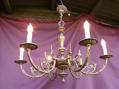 @  Superbe Vintage French 6 Lights Bronze  Chandelier - Louis Xv Style - !!!