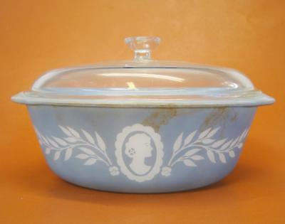 Vintage Glasbake Cameo 2 QT Casserole Dish with Pyrex Lid