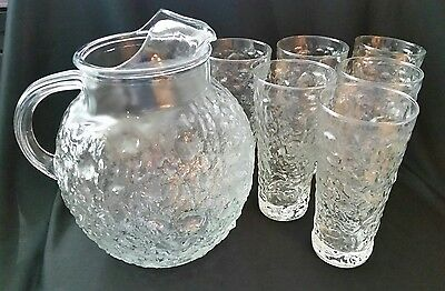 Vtg Anchor Hocking Lido Milano Clear Textured Glass Ball Pitcher & 6 Tumblers