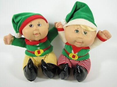 Cabbage Patch Snugglies Lot Of 2 Dolls Christmas Elves Green Red Stripes