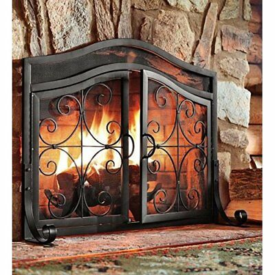 Large Metal Fire Screen Mesh Arched Doors Scrollwork Wrought Iron Black 44Wx33H