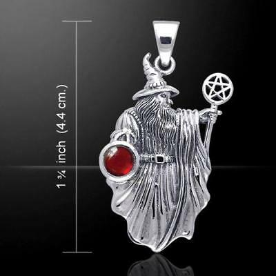 Ancient WIZARD with Pentacle Wand .925 Sterling Silver Gemstone Pendant