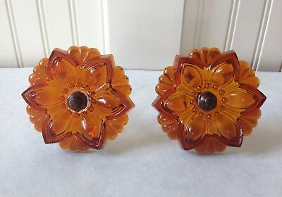Pair of Large Vintage Deep Amber Glass Rosette Curtain Tiebacks Victorian Style