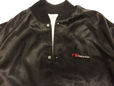 Vintage NAKAMICHI Black Satin Bomber Jacket! Men's Large Made in USA SUPER RARE!